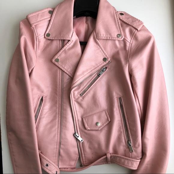 0a893a3f3 ZARA blush pink vegan leather biker jacket sz XS